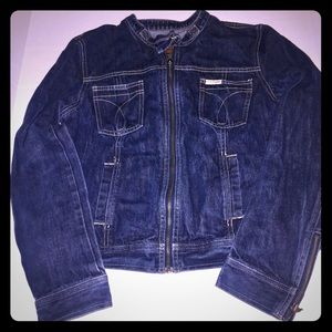 Calvin Klein Vintage 90s denim moto zip up jacket